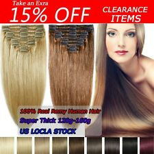 """THICK DOUBLE WEFT Clip In Remy Human Hair Extensions Full Head 200G 22""""US SU298"""