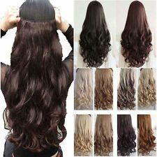 Heat Resistant 3/4 Full head Clip In Hair Extensions Real Natural Curly Straight