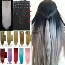 2016 real Thick 8 Piece CLIP IN HAIR EXTENTIONS FULL HEAD STRAIGHT CURLY WAVY b4