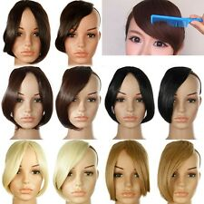 Straight Synthetic Hair Fringe Inclined Bang Clips-In Front Hair Extensions re66