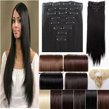 Full head clip in Hair extensions Brown Black Blonde 8pcs Any color On Sale Real