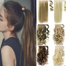Ponytail Pony Tail Clip In Hair Extension Wrap in On Hair Piece Wavy Straight lk
