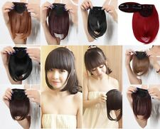 US Lady Clip On Clip In Front Hair Bang Fringe Hair Extension Black grey red tf6