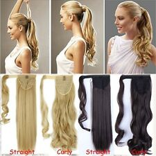 US Clip In Ponytail Pony Tail Hair Extension Wrap On Hair Piece CURLY TERE
