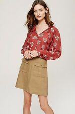 NWT ANN TAYLOR LOFT Faraway Exotic Floral Ruffle Tie Neck Blouse S, L