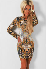 Fashion Sexy Gorgeous Leopard Print Long Sleeve Package Hip Women Mini Dress