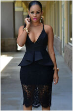Fashion Sexy Crossover Straps Floral Lace Overlay Peplum Women Bodycon Dress