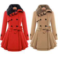Women's Wool Blend Faux Fur Belted Trench Parka Coat Jacket Winter Outwear #PL