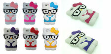 New 3D Cute Kitty Cartoon School Geek Nerd Glasses Phone Case For iPhone 4 4S UK