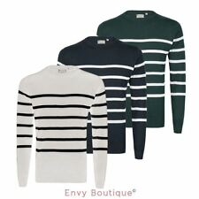 MENS KNIT CONTRAST STRIPE JUMPER SWEATER CREW NECK COTTON LONG SLEEVE PULLOVER