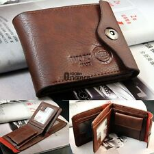 Bifold Wallet Men's Leather Brown Credit/ID Card Holder Slim Coin Purse AN18