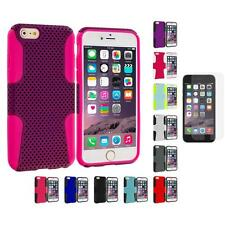 For Apple iPhone 6 (4.7) Hybrid Rugged Mesh Case+Anti Glare Screen Protector