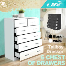 Tallboy Dresser 6 Chest of Drawers Table Cabinet Bedroom Storage