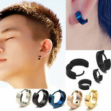 SHIP USA- Pair Unique Cool Mens Stainless Steel Hoop Piercing Ear Earring Studs