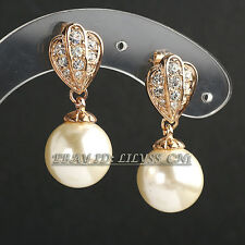 Fashion Rhinestone White Pearl Drop Dangle Earrings 18KGP Crystal