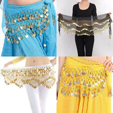 New Chiffon Belly Dance Hip Scarf 3 Rows Coin Belt Skirt ojr