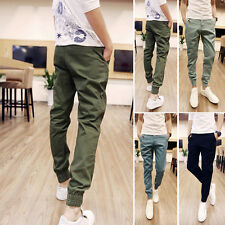 Mens Slim Fit Fashion Formal Casual Pure Color Trousers Sweatpants Pants Slacks