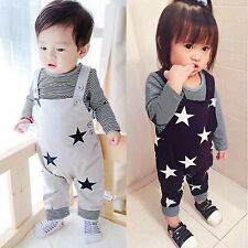 Newborn Baby Boy Girl Toddler T-shirt Top Bib Pants Set Jumpsuit Overall Outfits