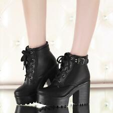 Women punk chunky heel platform creeper lace-up gothic buckle ankle boot plus sz