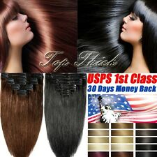 Salon Weft Thick Double Weft Clip In Remy Human Hair Extensions Full Head SU384