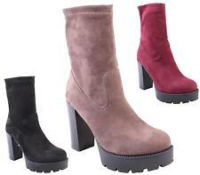 NEW LADIES WOMENS FAUX SUEDE CHUNKY SOLE CLEATED HIGH HEEL BOOTS SIZES 3-8