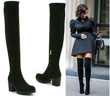 Ladies Microfibre Suede Pull On Sexy Over The Knee High Heel Thigh High Boots
