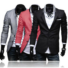 Stylish Men's Casual Slim Fit Two Button Suit Blazer Coat Jacket Tops Overcoat