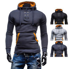 NEW! men's double-breasted short coat hedging brushed hooded sweater jacket SALE