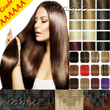 Real THICK 250G+ Clip In Remy Human Hair Extensions Full Head Double Weft SU419