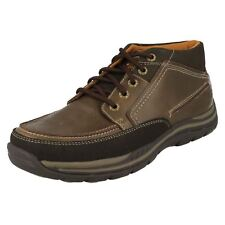 Mens Skechers Brown Leather/ Textile Ankle Boot Cason
