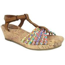 Mia Frenzy Girls' Braided Multi-Colored T-Strap Fashion Wedge Sandals Shoes NEW
