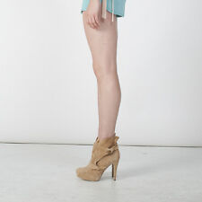 NIB Yellow Tan Genuine Suede High Heels Ankle Boots NYC Designer Handmade $415