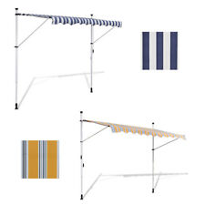 White/Blue 6 Sizes 3x1.2m Retractable Awning Canopy Folding Manually-operated