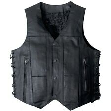 Leather Vest TEN POCKET Motorcycle Biker 2 Gun Concealed Carry Side Laces 10
