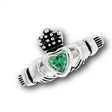 Stainless Steel Claddagh Cladagh Claddaugh Celtic Ring w/ CZ Heart Size 5-10