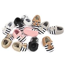 1 Pair Striped Tasseled Baby Shoes PU Leather Infant Shoes Skidproof Prewalker