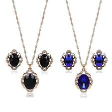 Gem Crystal Flower Pendant Chain Fashion Necklace Earring Set Rhinestone Jewelry