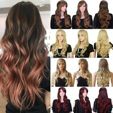 Fashion Wig Long Straight Curly Full Head Wigs Cosplay Party Fancy Dress Black