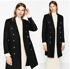 ZARA �� NEW AW16 BLACK LONG CROSSOVER COAT �� SIZE XS S M L XL �� Ref 7677/744