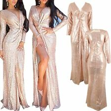 V NECK LONG SEQUINS GLITTER EVENING PARTY DRESS FORMAL PROM BRIDESMAID BALL GOWN