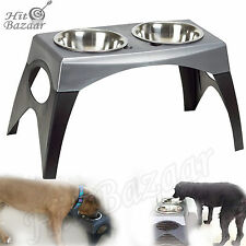 Raised Feeder Elevated Dog Bowl Double Dish Pet L Size Food Water Off Floor