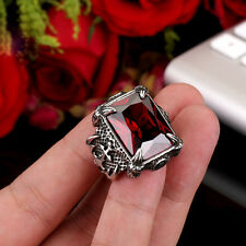 Noble Mens Jewelry Red Zircon Gem 316L Stainless Steel Warrior Ring Sz 7-13