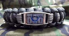 Custom United States Air Force DAD Paracord SURVIVAL Bracelet w Buckle USAF