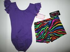 New Girls Leotard Shorts Set Lot Size Child S M L Purple Ruffle Dance Gymnastics