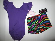 New Girls 2 Sizes XS 4-5 LC 12-14 Leotard Shorts Set Lot Purple Dance Gymnastics