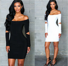New Sexy off shoulder Cut Out Long Sleeve Bandage Bodycon Party Club Mini Dress