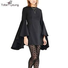 Sexy Women Ruffle Bell Long Sleeve Slim Bodycon Mini Dress Party Cocktail Casual