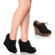 WOMENS LADIES HIGH WEDGE HEEL PLATFORM LACE UP PEEP TOE ANKLE BOOTS BOOTIES SIZE