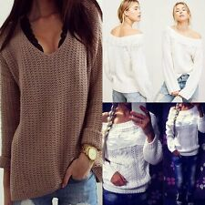 Sexy Women's Nice Off Shoulder Long Sleeve Knit Knitwear Sweater Pullover Jumper