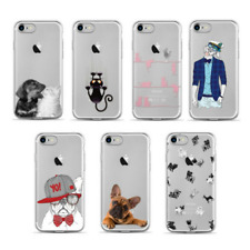 Silicone Sketch Dog Cat Animal Pattern Clear Gel Back Case Cover iPhone 7 8 Plus